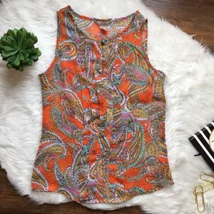 BANANA REPUBLIC ORANGE SHEER PAISLEY BLOUSE SZ XS